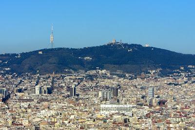 Tibidabo Hill in Barcelona from Montjuïc