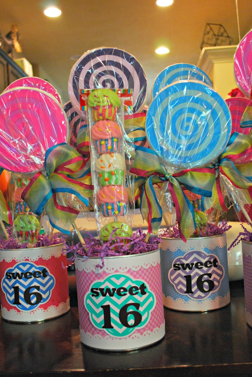 Up on tippy toes sweet candy centerpieces
