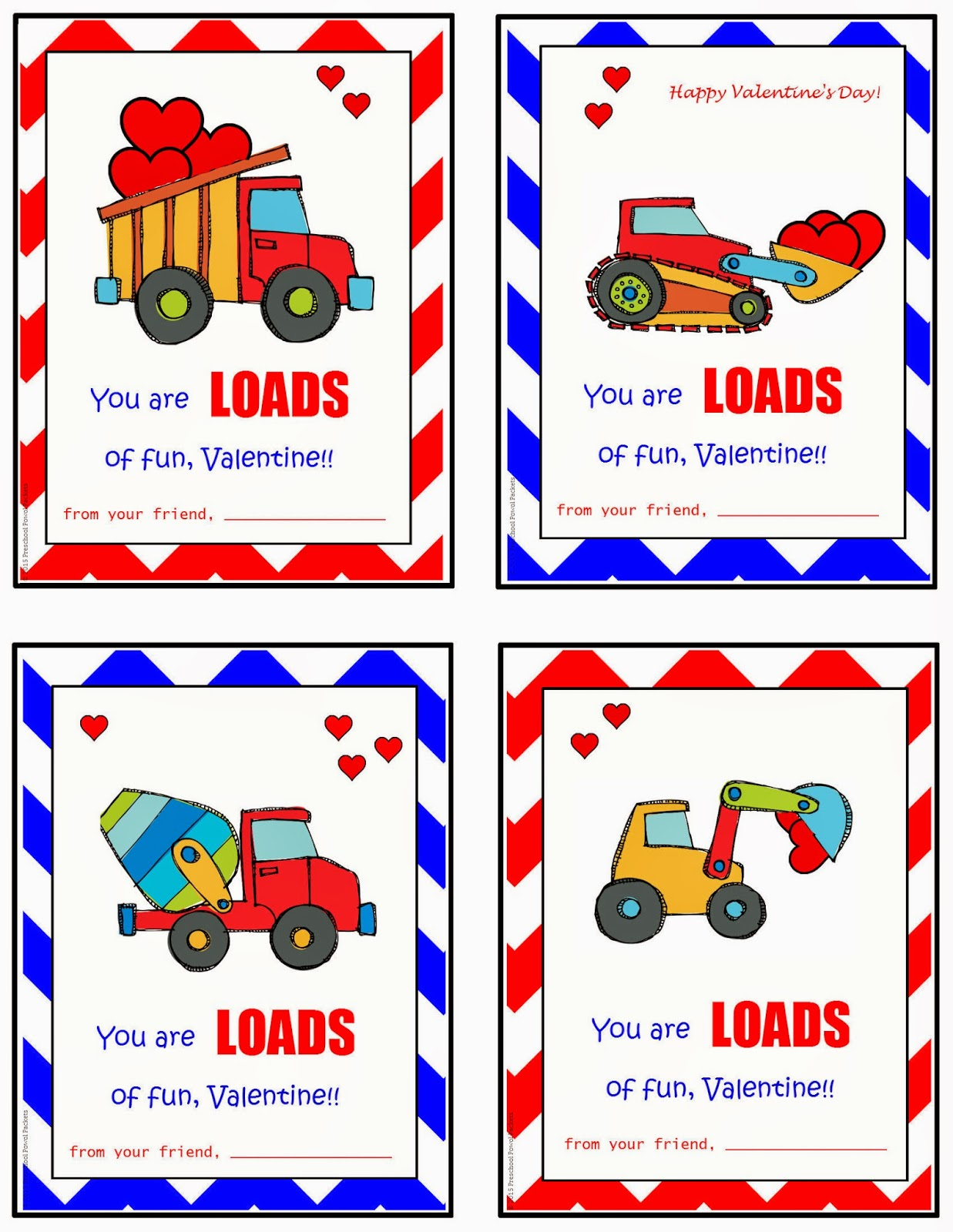 free printable construction truck valentines preschool powol