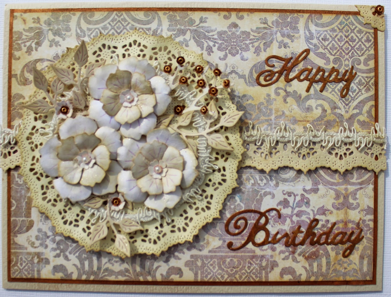 corina finley designs vintage happy birthday card, Birthday card