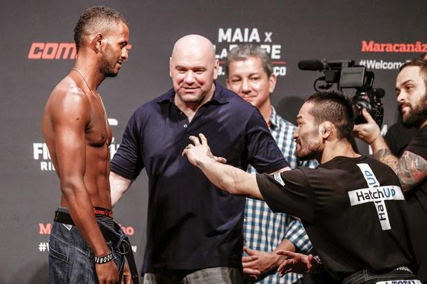 Baiano Kevin Souza luta contra o japonês Katsunori Kikuno nos penas (Foto: Divulgação)