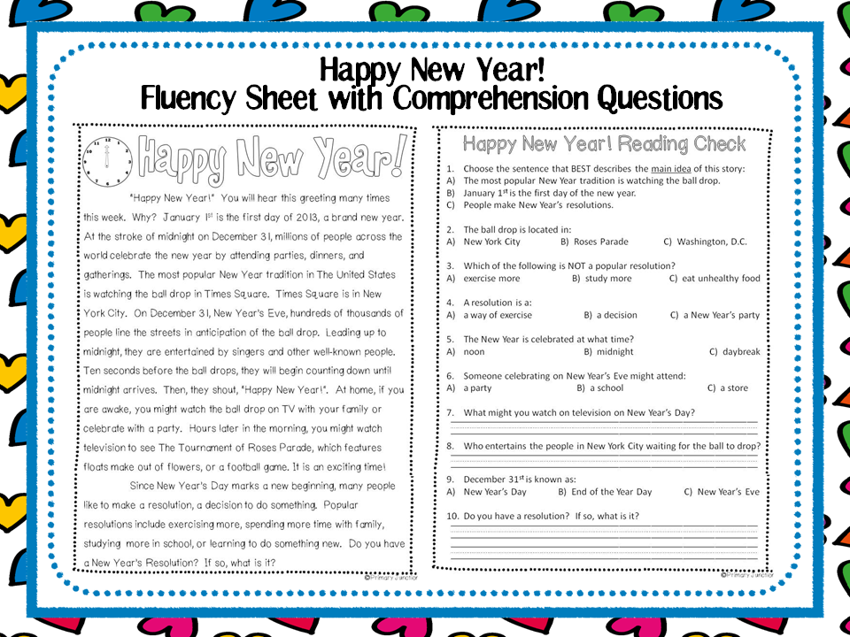 Classroom Freebies: Happy New Year! - Reading Comprehension