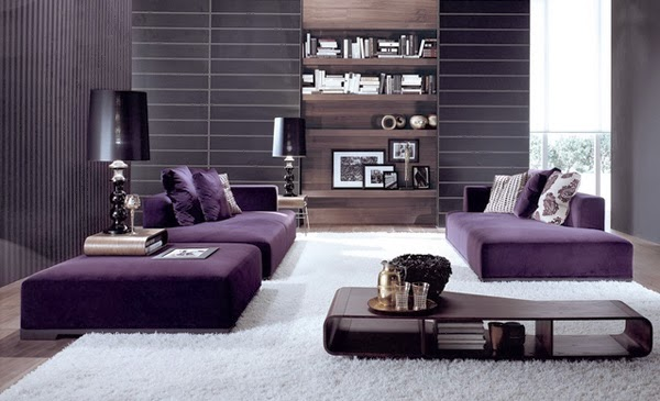 D coration salon avec des accents violets d coration for Decoration salon de the chicha