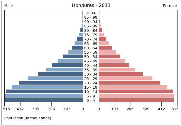 2011 Population pyramid chart of Honduras