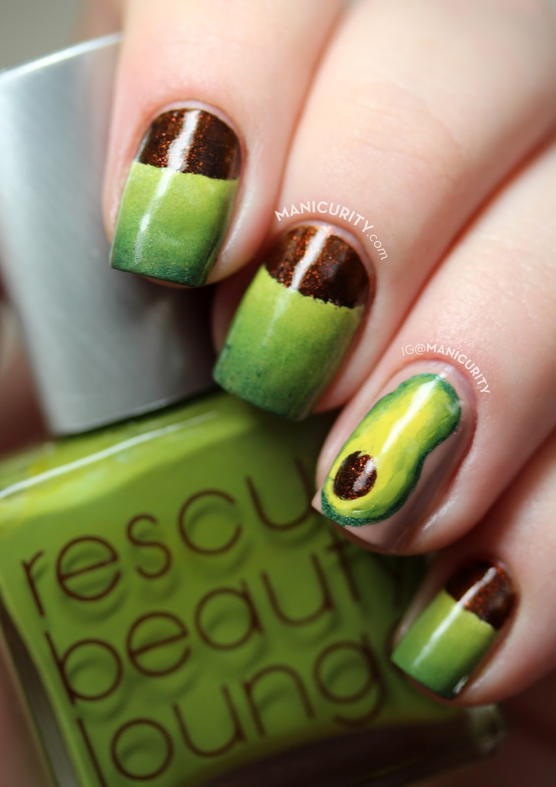 The Digit-al Dozen does Vintage: Ode to Avocado Nails - half moon and freehand avocado-inspired nail art | Manicurity.com