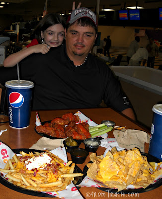Bowling Alley Food - hot wings, nachos, cheese fries