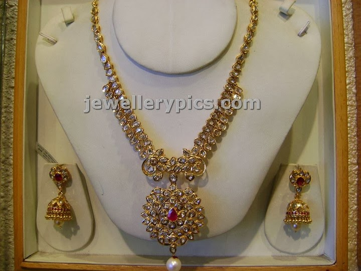 pachi diamond necklace set from sri maha laxmi jewellers