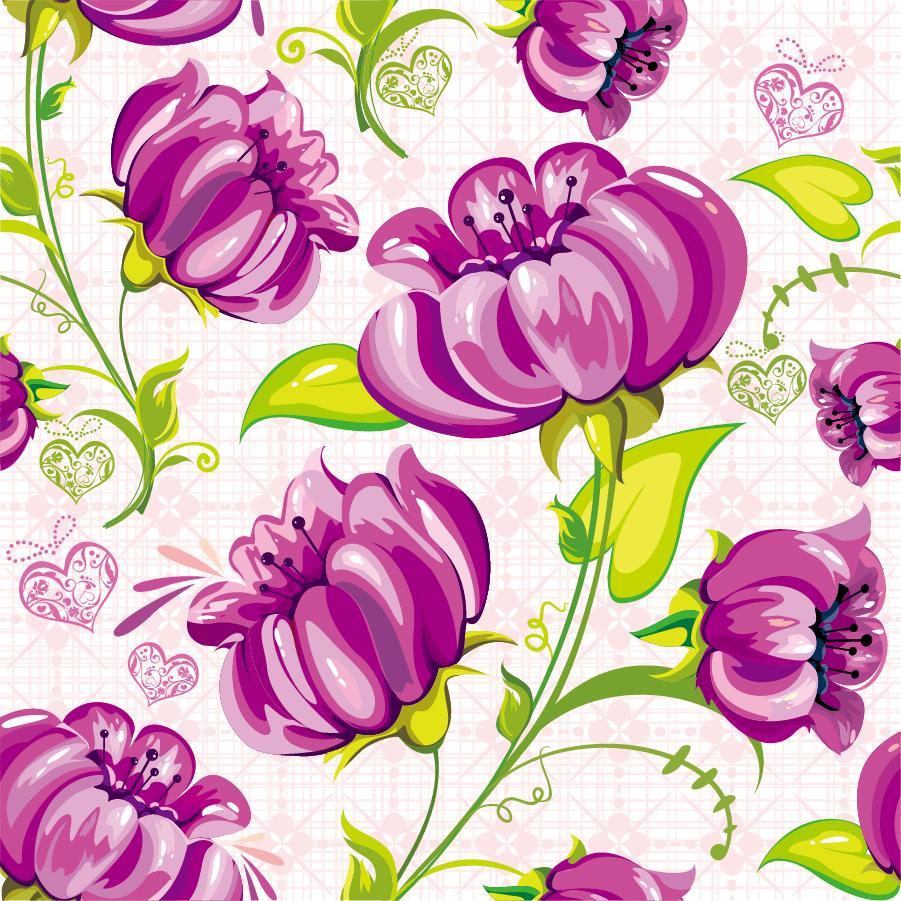 大きな花弁が美しい背景 Abstract Flowers Seamless Background イラスト素材
