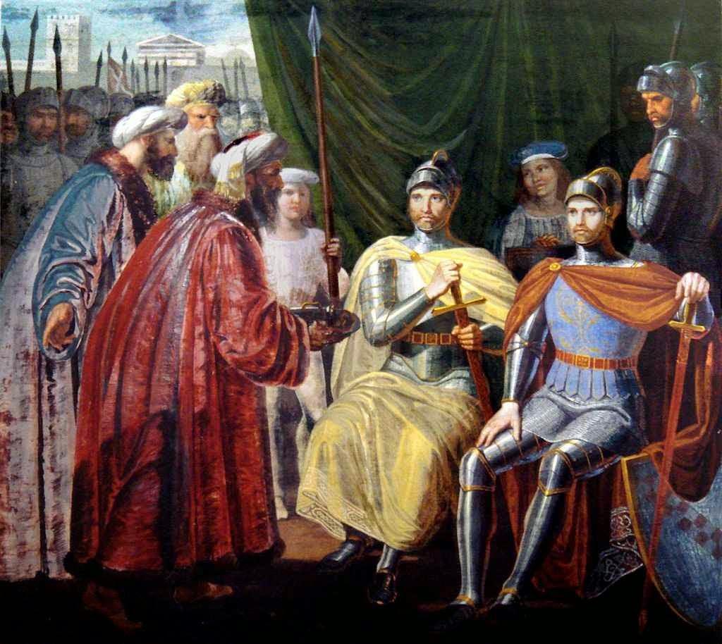 Roger de Sicília recebe as chaves da cidade de Palermo. Palazzo dei Normanni, Sala Gialla, Palermo.