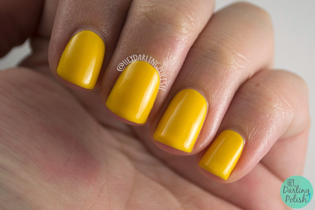 yellow, golden, siena, luxe lacquers, swatch, july box, summer, hey darling polish, indie polish, nails, nail polish,