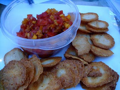 Parmesan crisps with heirloom tomatoes