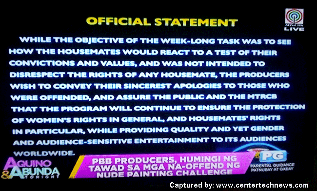 PBB Producers Apologizes To all About The Nude Painting Challenge part2