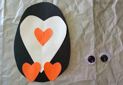 paper heart penguin craft