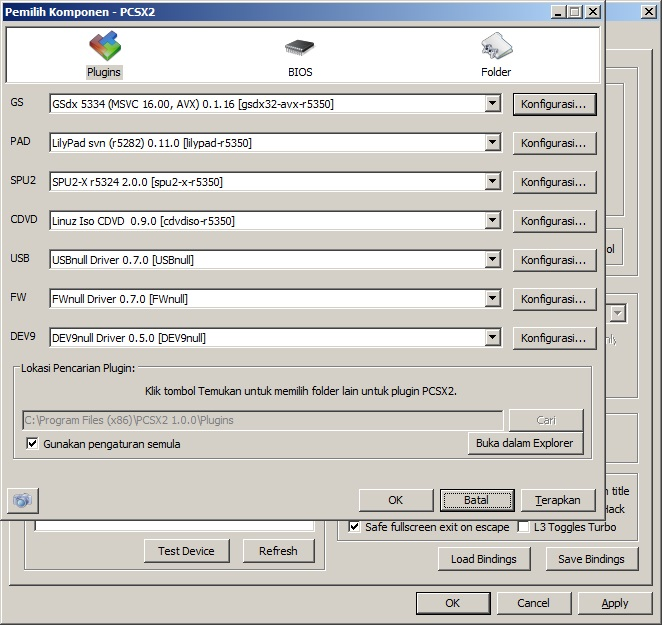 plugins PCSX2 Cara main Game PS2 Playstation 2 di komputer PC Laptop Windows dan konfigurasinya