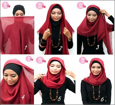 Cara pasang jilbab