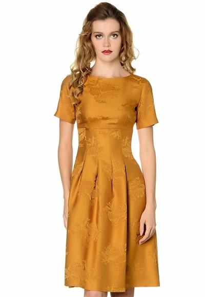 sarı elbise, desenli elbise, dantel garnili elbise, pileli elbise, 2015 elbise modelleri, adil ışık