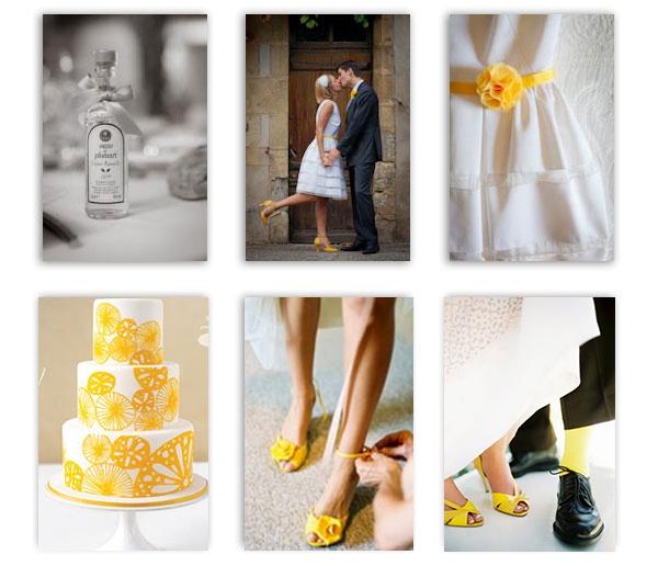 Les accessoires pour la couple peuvent aussi être Jaune, tel que les  chaussures jaunes pour la mariée et les socquettes pour le marié.