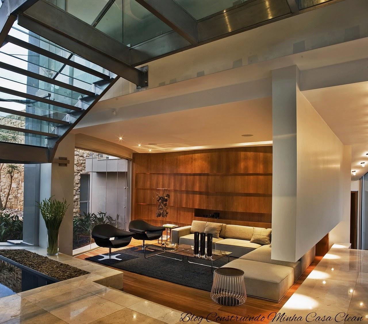 Construindo Minha Casa Clean Pain Is De Madeira Na Decora O  -> Fotos Parede Revestida De Sala