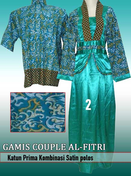 Gamis Batik Couple Kombinasi Kain Saten Model Terbaru