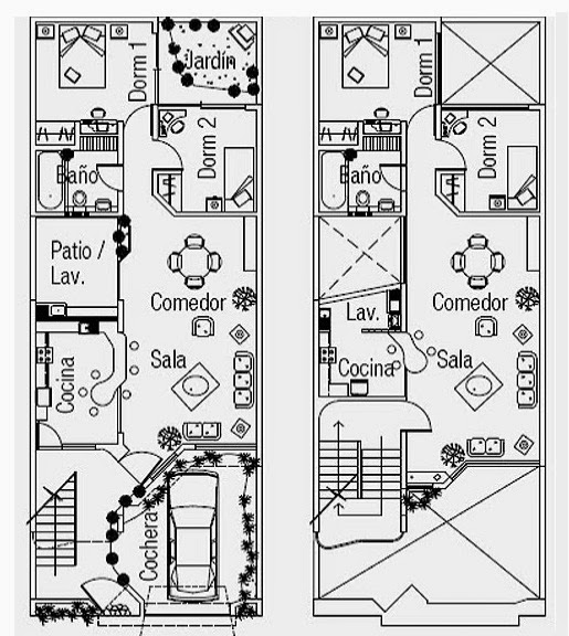 plano de vivienda moderna en terreno de m