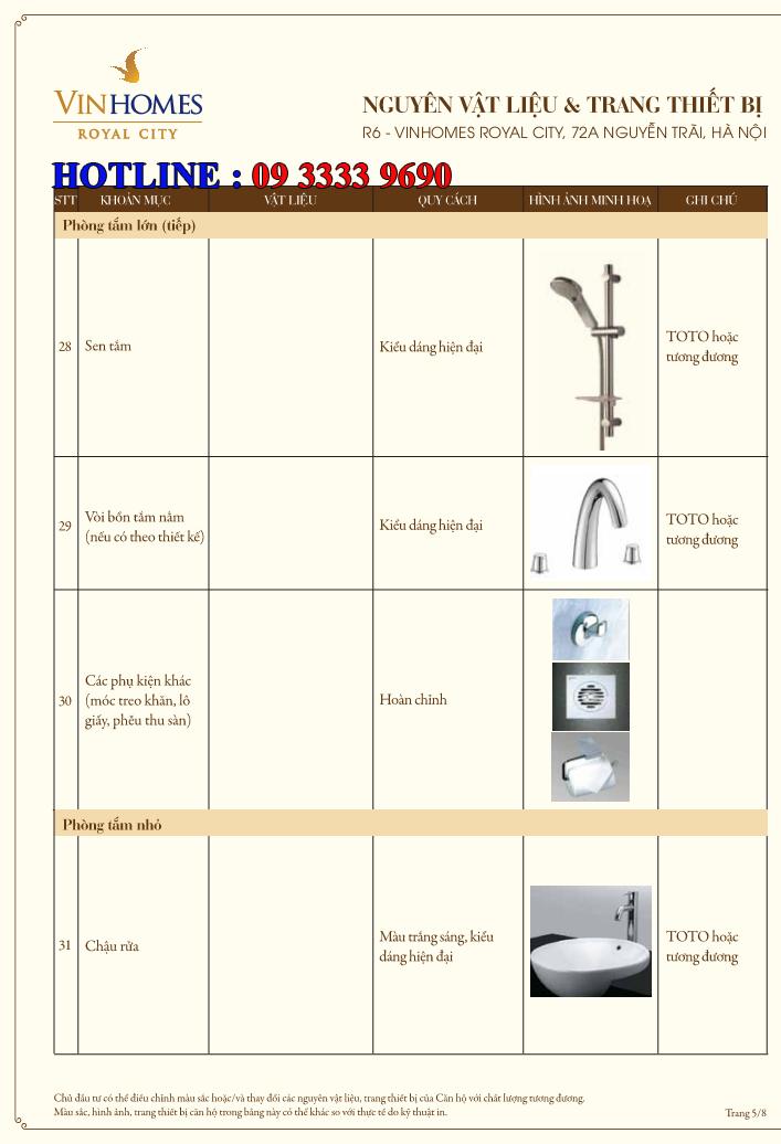 Bảng nguyên vật liệu căn hộ hạng sang Royal City R6 - Trang 5