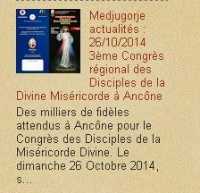 Medjugorje actualités : 26/10/2014 3ème Congrès régional des Disciples de la Divine Miséricorde à A