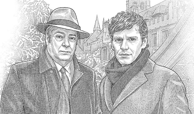 Hedcut portrait of Fred thursday and Endeavour Morse