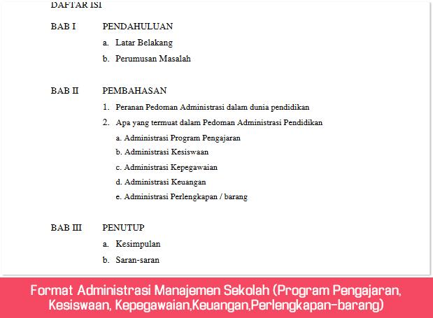 Format Administrasi Manajemen Sekolah (Program Pengajaran, Kesiswaan, Kepegawaian,Keuangan,Perlengkapan-barang)
