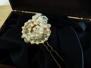 tocado de novia Espiral de perlas vintage