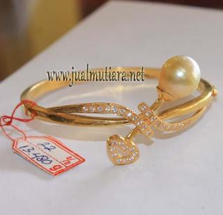 gelang emas mutiara air laut model sirkon tanam