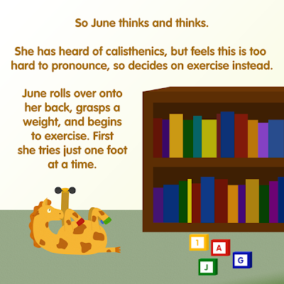 June the Giraffe and bookcase