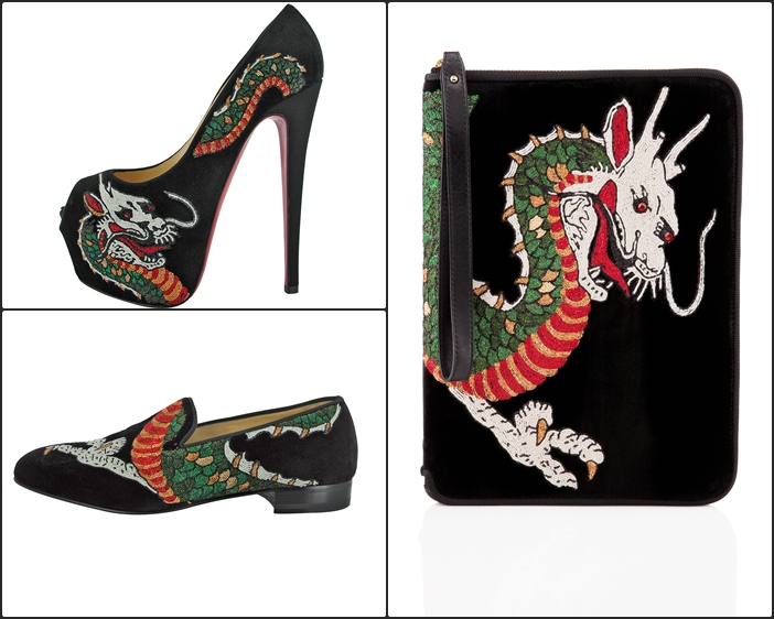 christian louboutin suede highness dragon tattoo pumps