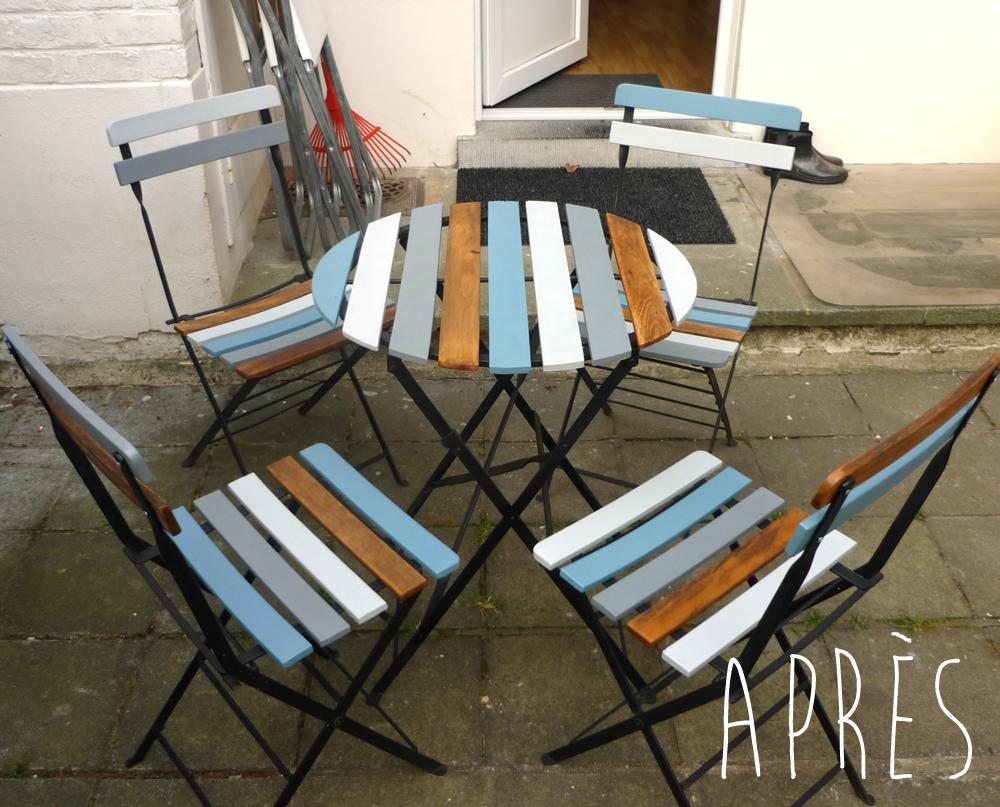 La brolerie table et chaises de jardin - Peindre des chaises en bois ...