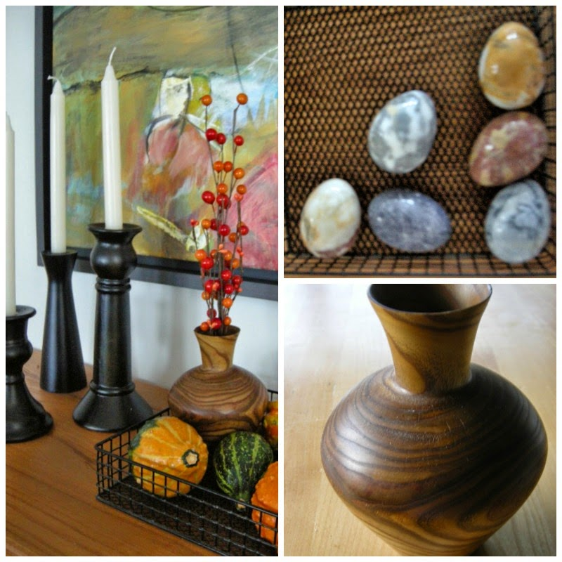 wooden vase, black candle holders, fall decorating