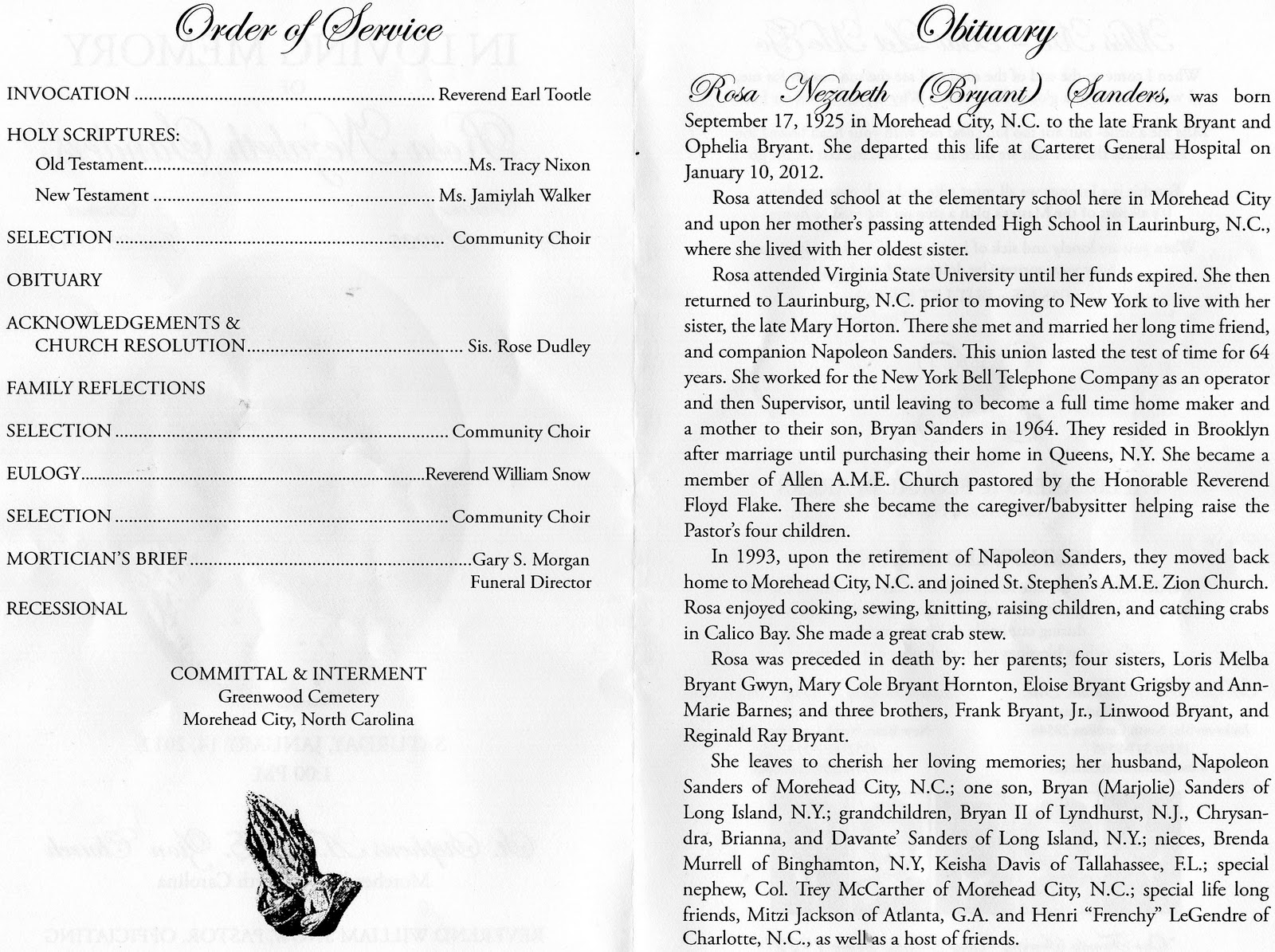 Obituary Program. Funeral Service ...  Free Printable Memorial Service Programs