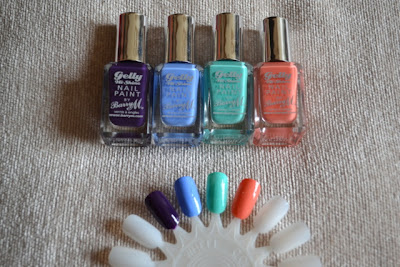 Barry M Gelly Hi Shine Nail Paint in Blackberry, Blueberry, Green Berry and Papaya