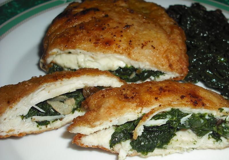 Pechugas de pollo rellenas de espinaca y queso