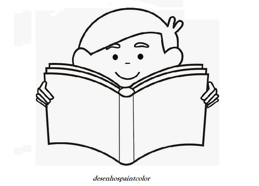 colorindo com a dry desenho de garoto lendo um livro para imprimir
