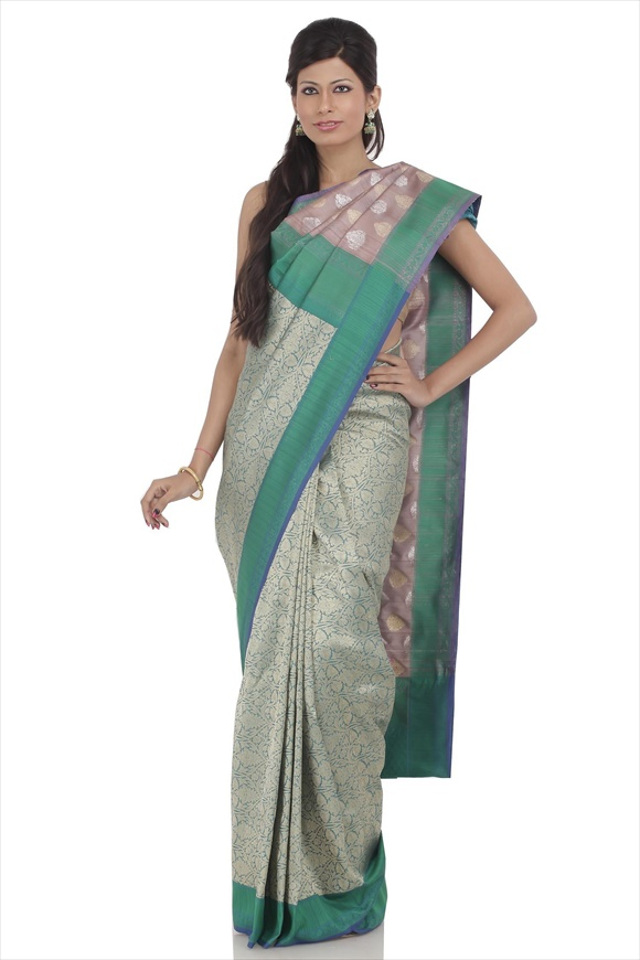 Taffy Brown Tassar Banarasi Saree
