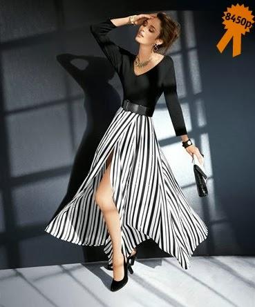 Черно-белая юбка-макси Madeleine