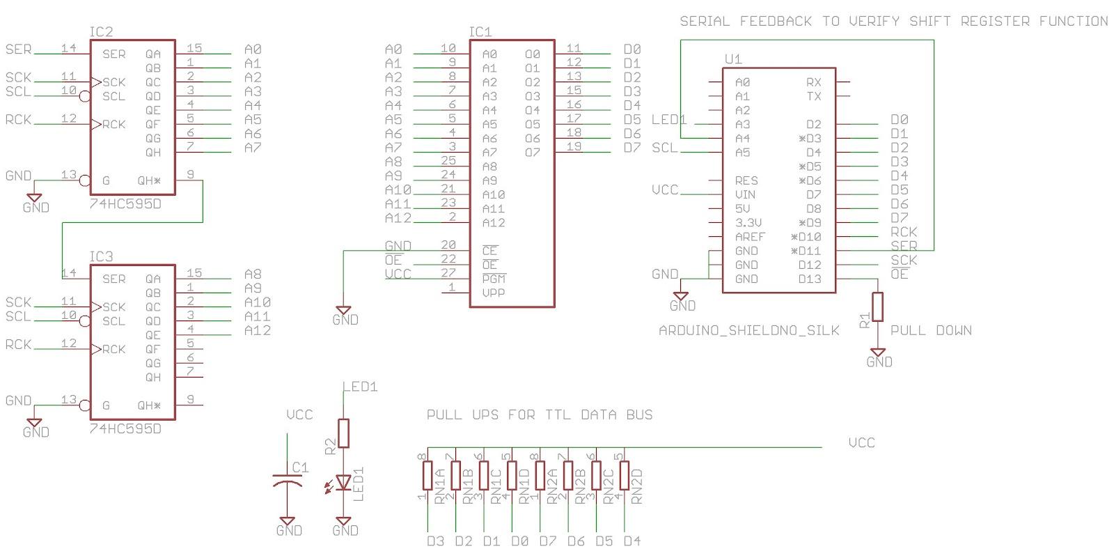 Arduino 2764 EPROM reader shield Eagle CAD schematic