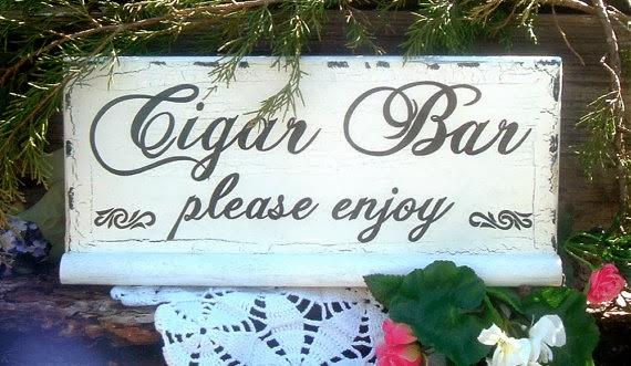 cigar bar wedding reception sign
