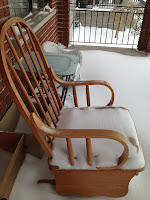 snow, rocking chair, weather, porch