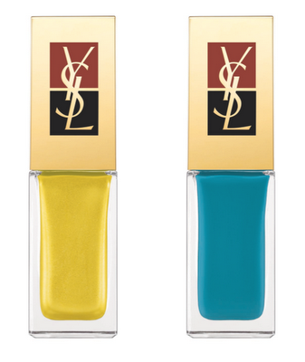 yves saint laurent nail lacquer summer 2011, yves saint laurent make up spring summer 2011, yves saint lauren electric yellow nail polish, yves saint laurent turquoise blue nail polish
