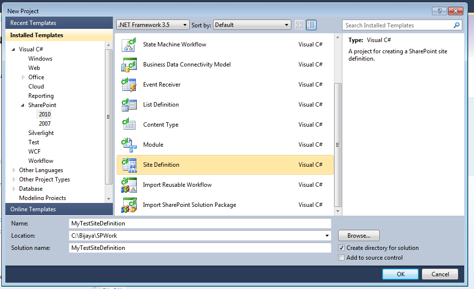 How to create a Site Definition using Visual studio 2010 in ...