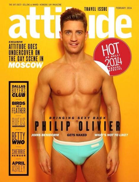 Philip Olivier Naked in Attitude Magazine February 2014