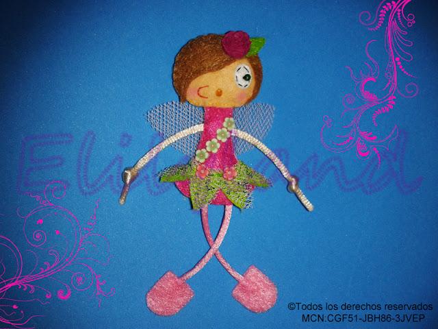 Muñeca Fieltro Mini-Elily Hada Flores