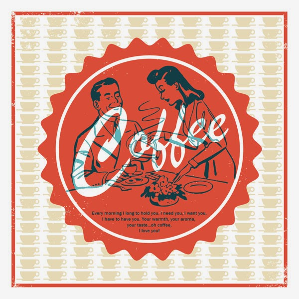 Retro Coffee Illustration Poster Print with Erotic Ode To Coffee