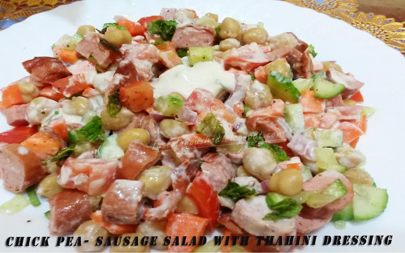 Chick Pea -Sausage Salad With Tahini Dressing