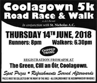 Coolagown 5k nr Fermoy...Thurs 14th June 2018